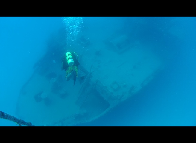 Reaching the wreck of the Adolphus Busch starting at about 100'