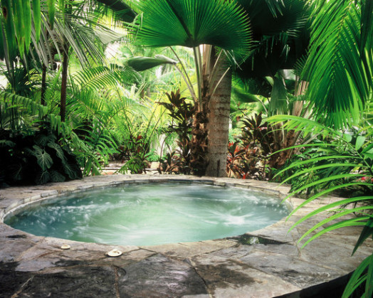 Tropical paradise isn't complete without a garden hot tub!