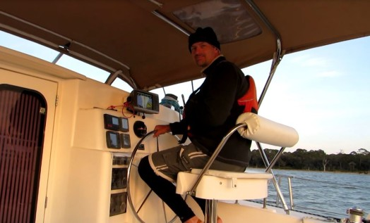 Dieter at the helm, traversing the ICW
