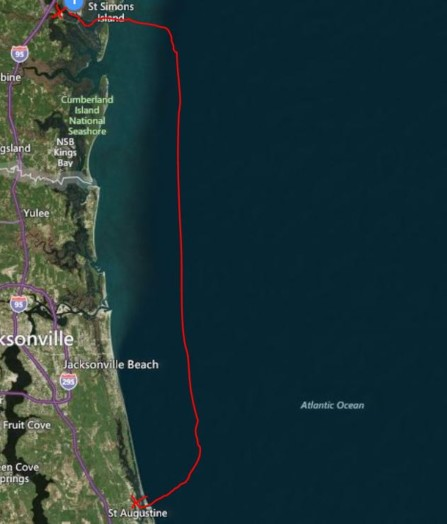 Overnight run on the outside from St. Simons Sound to St. Augustine Inlet (approx. 100 miles / 13 hours)